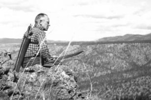 Aldo Leopold Sitting on a Cliff in the Sierra Madres Mountains of Mexico