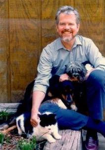 Tom regan With a Pet Dog and a Pet Cat