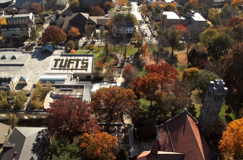 Tufts from a helicopter, with the library roof
